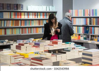 MILAN, ITALY - MARCH 8: People visit Tempo di Libri, the new Italian Publishing Fair on MARCH 8, 2018 in Milan.