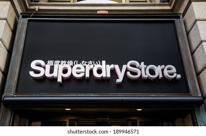 MILAN, ITALY - MARCH 9, 2014: View at Superdry Store in Milan. It is   a British international branded clothing company founded at 1985.