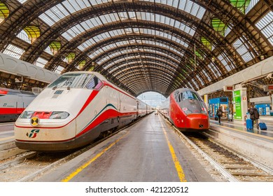 MILAN, ITALY - MAY 01, 2016: Trenitalia Frecciarossa (red arrow) on Milan Central Station. This high speed train can reach 300 km/h and operate Turin-Milan-Bologna-Florence-Rome-Naples route.