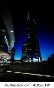 MILAN, ITALY - MAY 04,2016: Milan Porta Garibaldi district. The Unicredit Bank skyscraper and Piazza Gae Aulenti. Night scene.