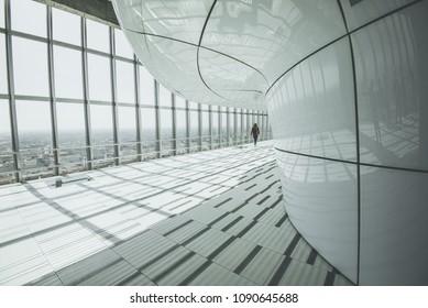 "MILAN, ITALY - MAY 06,2018:  Jannacci belvedere (viewpoint) at Pirelli skyscraper named ""Pirellone"" floor 30. Open House Milano 2018.The scyscraper Prilelli design by famous Gio Ponti."