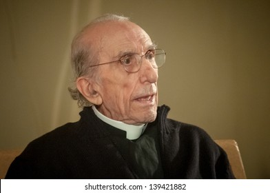 MILAN, ITALY -  MAY 07: Don Gallo during a conference in Milan on May, 7 2012. Don Andrea Gallo, Genova 1928 - Genova 2013, was revolutionary priest often deployed against the hierarchy of the church.