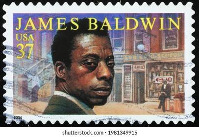 Milan, Italy - May 08, 2021: Novelist James Baldwin on american postage stamp