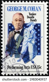 Milan, Italy - May 08, 2021: George M. Cohan on american postage stamp