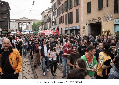 MILAN, ITALY - MAY 1: May Day parade in Milan MAY 1, 2013. People march in the streets for the traditional celebration of the May Day with an always participated parade