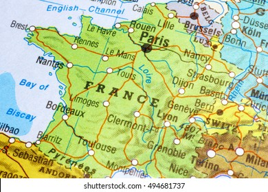 Milan, Italy - May 10, 2016: Map of France