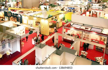 MILAN, ITALY - MAY 10: Panoramic view of regional and local food productions stands at Tuttofood 2009, World Food Exhibition May 10, 2011 in Milan, Italy.