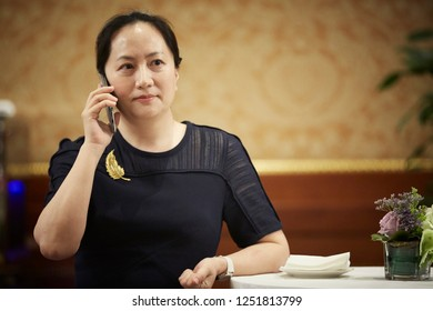 """Milan, Italy - May 11 2018: Meng Wanzhou at conference in Milan"""