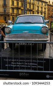Milan, Italy - May 12 2018: Harry Potter The Exhibition public display. A car replica from Harry Potter movies on display at Cadorna square during Milano exhibition at Fabbrica del Vapore.