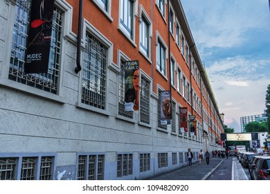 Milan, Italy - May 12 2018: MUDEC Frida Kahlo exhibition facade. Museum of Culture of Milan entrance banners for Frida Kahlo Beyond The Myth exhibition.