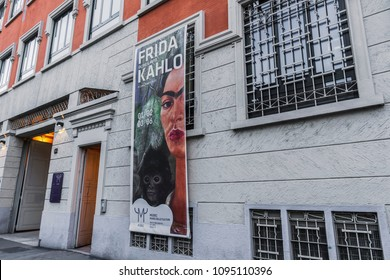 Milan, Italy - May 12 2018: MUDEC Frida Kahlo exhibition facade. Museum of Culture of Milan entrance banner for Frida Kahlo Beyond The Myth exhibition.