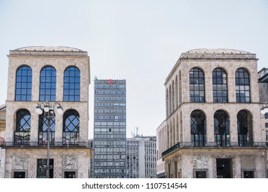 Milan, Italy - May 12 2018: Museo del Novecento view at Piazza del Duomo. External day view of museum facade at Palazzo dell Arengario in main Milano square.