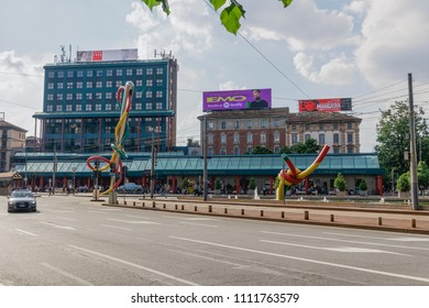 Milan, Italy - May 12 2018: Piazzale Cadorna artwork Ago, Filo e Nodo. Needle, Thread and Knot public two sections sculpture in Cadorna square.