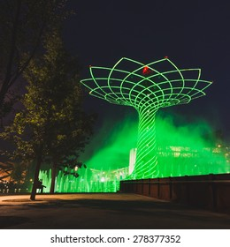 MILAN, ITALY - MAY 13: Tree of Life in the evening at Expo, universal exposition on the theme of food on MAY 13, 2015 in Milan.