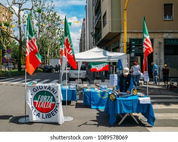 Milan, Italy - May 13th, 2018: Election stand on street in support of Forza Italia political Party led by Silvio Berlusconi in the Italian 2018 general elections