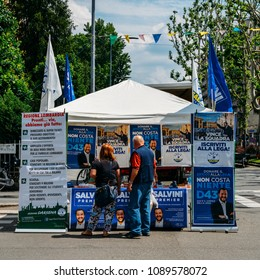 Milan, Italy - May 13th, 2018: Election stand on street in support of Lega Nord political Party led by Salvini's in the Italian 2018 general elections