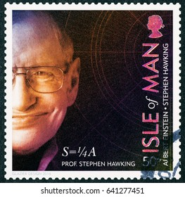 Milan, Italy - May 14, 2017: Famous scientist Stephen Hawking on postage stamp