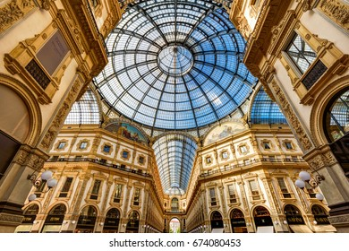 MILAN, ITALY - MAY 16, 2017: The Galleria Vittorio Emanuele II on the Piazza del Duomo in central Milano. This gallery is one of the world's oldest shopping malls. Historical architecture of Milan.