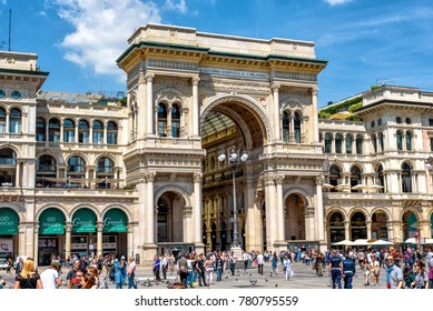 Milan, Italy - May 16, 2017: Galleria Vittorio Emanuele II on the Piazza del Duomo (Cathedral Square). This square is the main travel attraction of Milan. Historical architecture in central Milan.