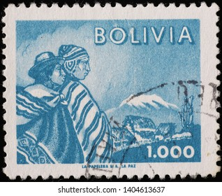Milan, Italy - May 17, 2019: Bolivian people on vintage postage stamp