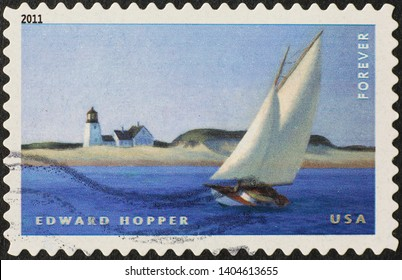 Milan, Italy - May 17, 2019: Painting by Edward Hopper on american stamp