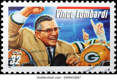 Milan, Italy - May 17, 2019: American football coach Vince Lombardi on american stamp