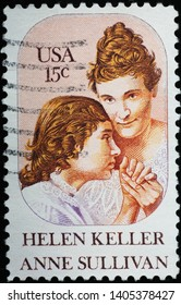 Milan, Italy - May 17, 2019: Helen Keller and Anne Sullivan on american stamp