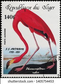 Milan, Italy - May 17, 2019: Flamingo painted by Audubon on postage stamp