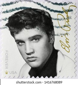 Milan, Italy - May 17, 2019: Young Elvis Presley on american postage stamp