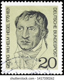 Milan, Italy - May 17, 2019: Famous philosopher Hegel on german postage stamp