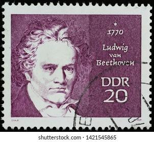 Milan, Italy - May 17, 2019:  Ludwig van Beethoven on old german stamp