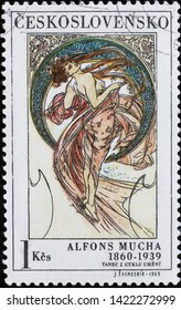Milan, Italy - May 17, 2019:  Allegory of Dance painted by Alfonse Mucha on stamp