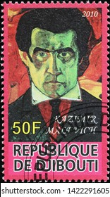 Milan, Italy - May 17, 2019: Self portrait by Kazimir Malevich on postage stamp
