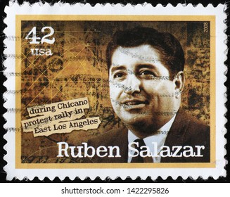 Milan, Italy - May 17, 2019: Ruben Salazar on american postage stamp