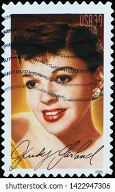 Milan, Italy - May 17, 2019: Judi Garland on american postage stamp