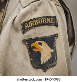 MILAN, ITALY - MAY 18: Detail of American sleeve patch on display at Militalia, exhibition dedicated to militaria collectors and military associations on MAY 18, 2014 in Milan.