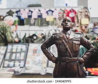 MILAN, ITALY - MAY 18: Mussolini's statue on display at Militalia, exhibition dedicated to militaria collectors and military associations on MAY 18, 2014 in Milan.