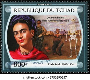 Milan, Italy - May 19, 2020: Painting by Frida Kahlo on stamp