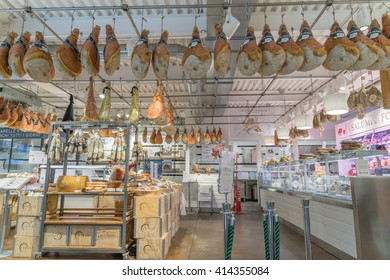 MILAN, ITALY - MAY 2, 2016: Eataly in district Garibaldi. Eataly is the new important market place with only original italian product gastronomy.