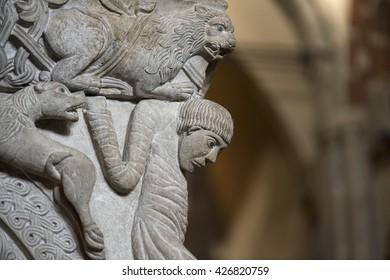 MILAN, ITALY - MAY 20, 2016: Sarcophagus in Sant'Ambrogio church (Milan, Lombardy, Italy): detail