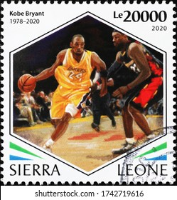 Milan, Italy - May 20, 2020: Kobe Bryant during a match on postage stamp