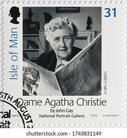 Milan, Italy - May 20, 2020: Portrait of Agatha Christie on british postage stamp