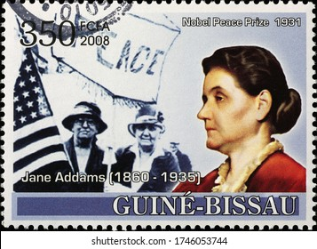 Milan, Italy - May 20, 2020: Nobel awarded Jane Addams on postage stamp