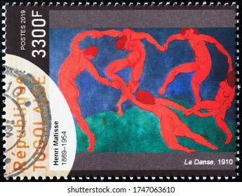 Milan, Italy - May 20, 2020: La danse by Henry Matisse on postage stamp