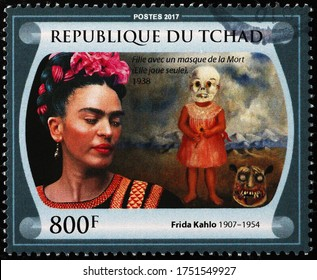 Milan, Italy - May 20, 2020: Painting of the death by Frida Kahlo on stamp
