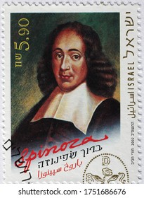Milan, Italy - May 20, 2020: Portrait of philosopher Baruch Spinoza on postage stamp