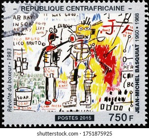 Milan, Italy - May 20, 2020: Boxer's revolte by Jean-Michel Basquiat on stamp