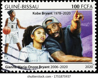 Milan, Italy - May 20, 2020: Kobe Bryant and his daughter Gianna on postage stamp