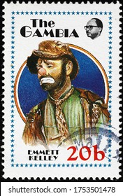 Milan, Italy - May 20, 2020: Emmett Kelley on postage stamp of Gambia