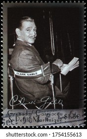 Milan, Italy - May 20, 2020: Portrait of Clark Gable on stamp